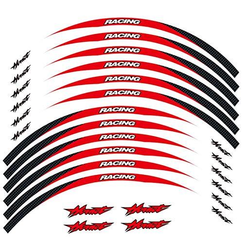 4 Color de la Motocicleta para Honda Hornet 17 Pulgadas Neumático 1set Frente y Trasero Edición Exterior Pegatina Etiqueta Etiqueta Etiqueta de la Rueda reflexiva (Color : Red)