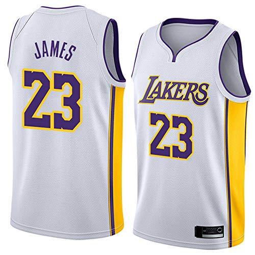 Wo nice Jerseys De Baloncesto De Los Hombres, Los Angeles Lakers # 23 Lebron James Camisetas De Baloncesto Camisetas Sin Mangas Tops Casuales Chalecos,Blanco,M(170~175CM)