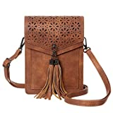 MINICAT Fringe Thicher Pocket Small Crossbody Cell Phone Purse Wallet For Women With Credit Card Slots (Brown-RFID Blocking)