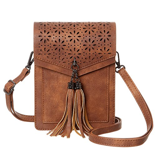 MINICAT Fringe Thicher Pocket Small Crossbody Cell Phone Purse Wallet For Women With Credit Card Slots (Brown)
