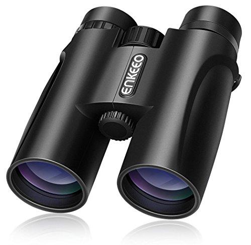 Enkeeo - Prismáticos 10x42mm Binoculares Compactos BAK-4 Larga Distancia para Avistamiento de Aves/Camping/Eventos Deportivos etc.