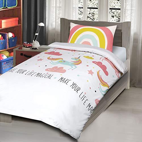 Nimsay Home Children's Kids Teenage Boys Girls Single Quilt Duvet Cover and Pillow Case Bedding Set (Unicorn)