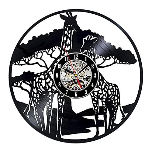 YZJYB Jirafa Animal Reloj De Pared con Registro De Vinilo Reloj Reloj Cuarzo Silencioso Modernos Fácil De Montar Reloj De Vinilo con Registro De Pared