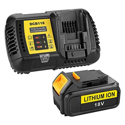 Energup - Batteria di ricambio da 18 V e 5000 mAh + caricatore DCB118 per DeWalt da 18 V DCB118, DCB184, DCB200, DCB182, DCB180, DCB181, DCB182, DCB201
