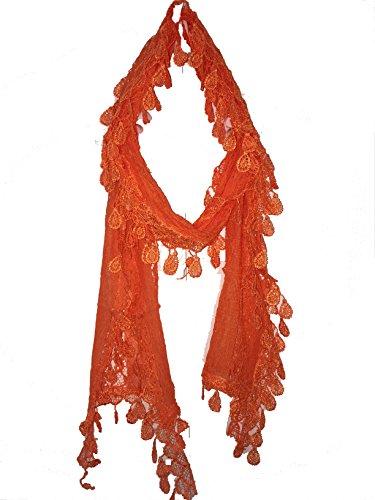 Pamper Yourself Now Damenschal, lang, dünn, Blatt-Spitze, ideal als Geschenk. Gr. One size, Leuchtorange