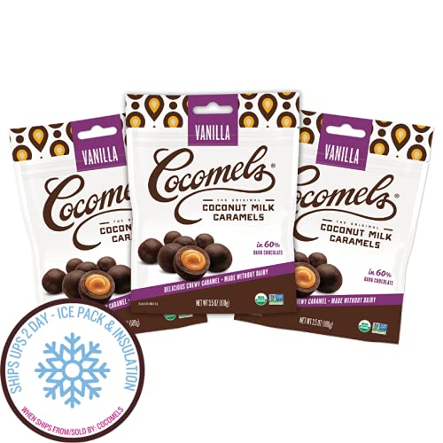 Cocomels Chocolate Vanilla Caramel Bites, Organic Candy, Dairy Free, Vegan, Gluten Free, Non-GMO, No High Fuctose Corn Syrup, Kosher, Plant Bases, (3 Pack)