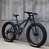 26'Bicicletas de Montaña,24 Velocidad Bikes Bicicleta Montaña,Bicicleta de Montaña para Adultos Fat Tire ,Marco de Acero de Alto Carbono Doble Suspensión Completa Doble Freno de Disco (Cian)
