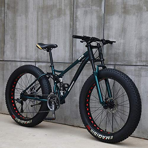 26' Mountain Bikes,Adult Fat Tire Mountain Trail Bike,24 Speed Bicycle,High-carbon Steel Frame Dual Full Suspension Dual Disc Brake (Cyan)