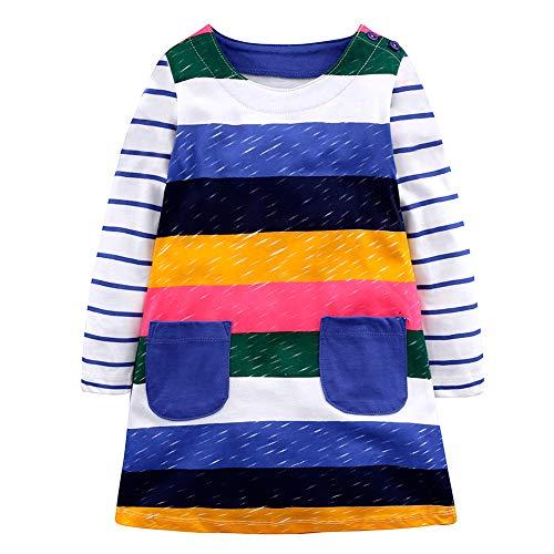 YFPICO Vestidos para Niñas T-Shirt Infantil Estampada de Algodón Vestido de Manga Larga Causal, Raya, 4-5 años Etiqueta 5Y