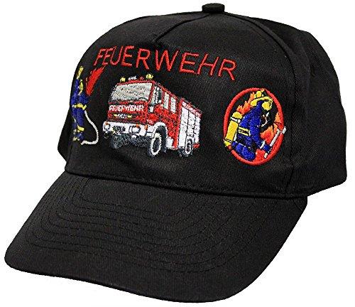 Fan-O-Menal Baseballcap mit Einstickung - Feuerwehrmann Löschzug Feuerwehrauto - 68176 schwarz