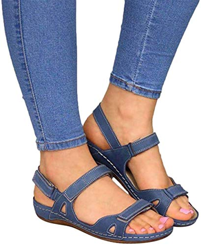 ALOVEWE WAQIA Women's Orthopedic Open Toe Leather Sandals, Premium Comfy Hook and Loop Closure Sport Sandal, Casual Flat Arch Support Wedge Shoes for Summer Outdoor Hiking Walking Beach