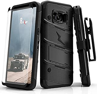 ZIZO Bolt Series Samsung Galaxy S8 Plus Case Military Grade Drop Tested with Tempered Glass Screen Protector Holster Black