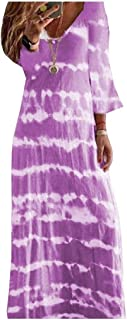 SportsX Womens V-Neck Baggy Patterned Half Sleeve Oversized Maxi Dress