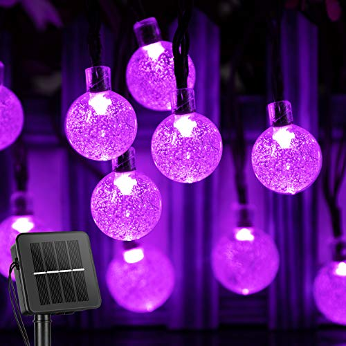 Solar String Lights Outdoor 60 Led 35.6 FT Crystal Globe Lights with 8 Lighting Modes, Waterproof Solar Powered Patio Lights for Garden Yard Porch Wedding Party Decor (Purple)