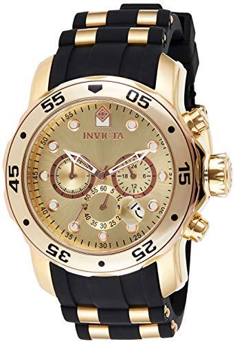 Invicta Relógio masculino Pro Diver Scuba 48 mm de aço inoxidável dourado com cronógrafo de quartzo com pulseira de silicone preta, preto/ouro (modelo: 17884)