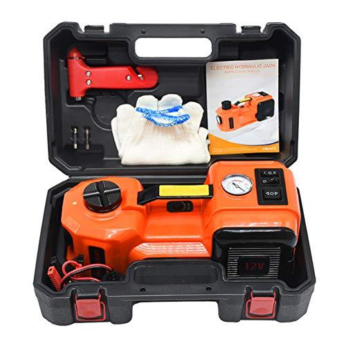 12V 5 Ton elektrische hydraulische krik, 3-in-1 Reeks Hellen takels Des bandinflator LED Voor Straßennotreparatur,Orange