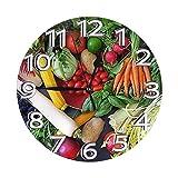 Reloj de pared vegano, diseño moderno, forma redonda, despertador, reloj digital, tipo batería, 25 cm de diámetro (9,84 pulgadas)