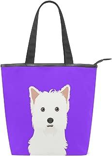 Tote Canvas Shoulder Bag West Highland White Terrier Dog Womens Handbag