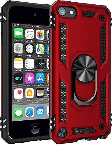 ULAK Coque iPod Touch 7, Étui 2 en 1 iPod Touch 6/5 TPU Souple + Rigide PC Housse avec Support Antichocs Protection Coque pour Apple iPod Touch 5/6 / 7ème génération, Rouge