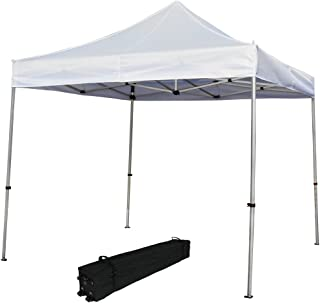Sunnydaze Commercial Grade Heavy-Duty Aluminum Straight Leg Quick-Up Instant Canopy Event Shelter, 10 x 10 Foot, White, Includes Rolling Bag