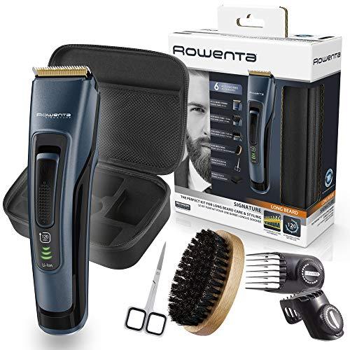 Rowenta Kit cuidado barba Signature TN4500, Cortapelos y barbero, cuchillas autoafilables revestimiento titanio, cepillo cerdas naturales, tijeras para bigote, estuche, autonomía 90 min y dos peines