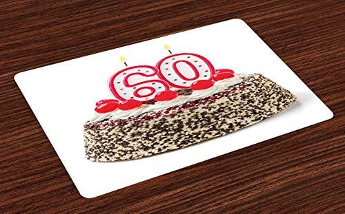 ABAKUHAUS 60ste Verjaardag Placemat Set van 4, Cake van de Partij van de kaars, Wasbare Stoffen Placemat voor Eettafel, Veelkleurig