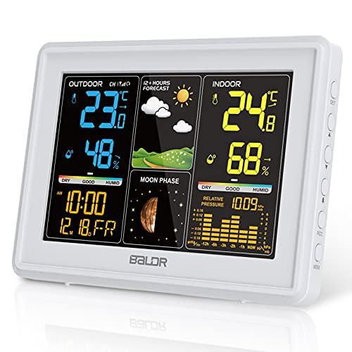 BALDR Wetterstation Funk mit Außensensor, Digital Farbdisplay DCF-Funkuhr Innen und Außen Thermometer Hygrometer, Funkwetterstation mit Wettervorhersage, Barometer und Mondphase (Weiß)