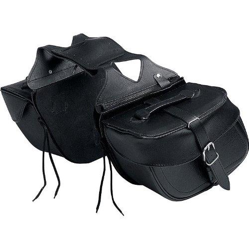 QBag Motorrad Satteltaschen für Motorrad Taschen Kunstledersatteltaschenpaar 08, abnehmbar, universelles kleines Satteltaschenpaar mit zentralem, verdeckten Klickverschluss, formstabil, Schwarz, 20 Liter