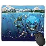 Benutzerdefinierte Office-Mauspad,Hai Ozean Schildkröte tropisches Tier Unterwa, Anti-Rutsch-Gummibasis Gaming Mouse Pad Mat Desk Decor 9.5 'x 7.9'