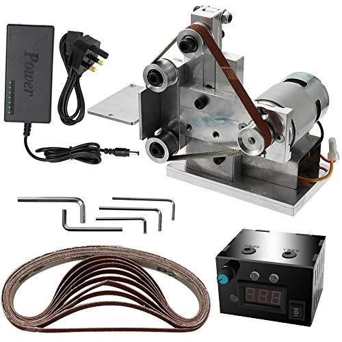 KKmoon Belt Sander Grinder UK Plug Electric Belt Sander with Speed Control Power Supply DIY Fixed Polishing Grinding Machine