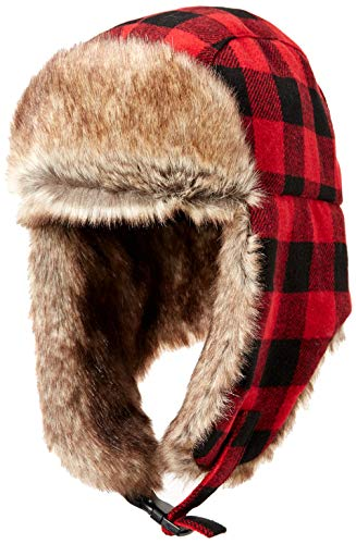 Amazon Essentials Trapper Hat with Faux Fur Cold-Weather-Hats, Red Buffalo Check, One Size