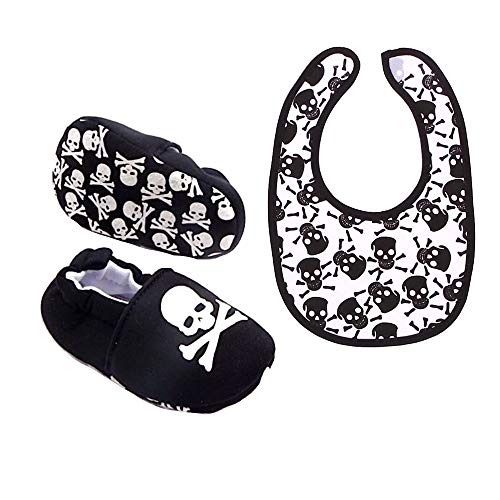 Kustom Factory Babyschuhe und Lätzchen, Totenkopf Gr. 0-4 Monate, schwarz / weiß