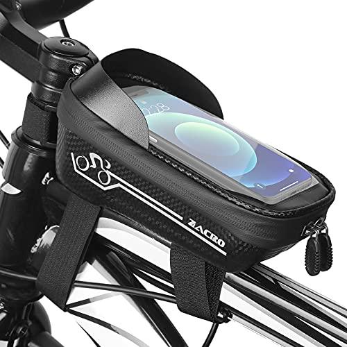 Zacro Sacoche de Cadre Vélo - Sacoche de Guidon Etanche pour Vélo VTT, Support de Téléphone Portable avec Ecran Tactile TPU et Pare-Soleil, Sacoche Vélo pour Smartphones de Moins de 6,5 Pouces