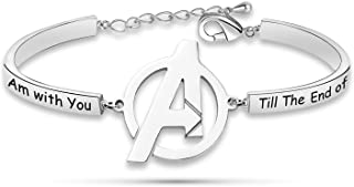 I Am with You Till The End of The Line Avengers Bracelet Marvel Friendship Jewelry for BFF Couple-BR