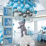 Baby Balloon Box (58 pcs set), Baby Shower Boxes Transparent Balloon Box with 42 Free Balloons(Blue,Silver,White) Baby Shower Decorations Balloon Clear Box