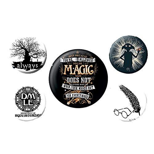 Pritties Accessories Echte Warner Bros Harry Potter Symbole 5-teiliges Abzeichen Set Silhouette Hogwarts