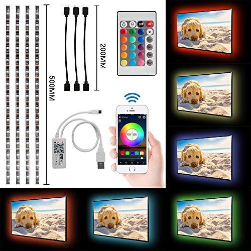 4x50cm Tira LED WiFi con alimentación USB, Retroiluminación TV RGB 5050 impermeable para espejo gabinete, Controlado por Alexa y Google Home/APP de teléfono inteligente/Mando a Distancia