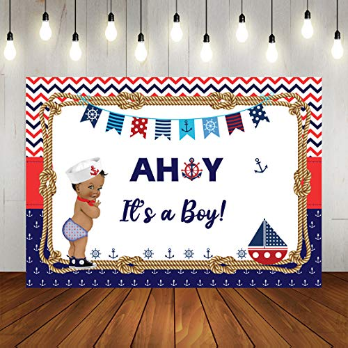 Ahoy It's A Boy Nautical Theme Baby Shower Backdrop Royal Prince Marine Photogarphy Background Ahoy Navy Blue and Red Wave Colorful Flags Anchor Party Decorations Banner for Newborn Baby 7x5ft
