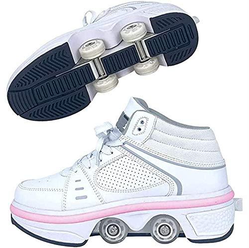 SHANGN Zapatos con Ruedas para Niños Patines Led Zapatillas con Ruedas Zapatos De Deformación Multifuncionales para Niñas Mujeres Calzado Deportivo Al Aire Libre,White High top-EU36