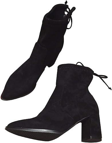 HBDLH Chaussures Chaussures pour Femmes Slim Bottes La Hauteur du Talon De 7 Cm D'épaisseur des Talons Nues Bottes Martin Court Court De Barils Bottes Bottines  bon shopping