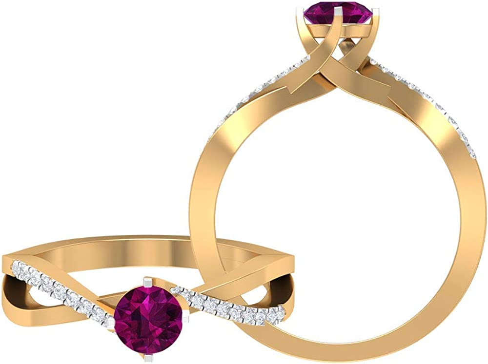 June Birthstone - 5.00 MM Solitaire Rhodolite Ring, HI-SI Diamond Ring, Side Stone Engagement Ring, Gold Infinity Ring (AAA Quality), 14K Solid Gold