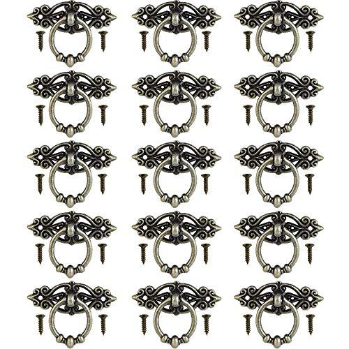 inherited 15 Stück Vintage Moebelgriff, Alte Tür Schrank Knöpfe, Möbelgriffe Messing Vintage Türgriffe mit Schrauben Alte Griffe für Kommode, Schrank Schublade Mit Schrauben