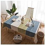 SimidunEUR Elegante Rechteck Dekoration Tischdecke Baumwolle Leinen Tischdecke mit Quaste Edge Staubdichte waschbare Küchentischabdeckung für Speisetisch,Blaugrün 2,140 * 180 cm