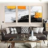 Cuadro de lienzo abstracto moderno estilo nórdico negro naranja póster impreso cuadro de arte de pared para decoración del hogar sin marco-50x70cmx3