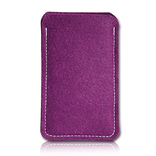 sw-mobile-shop Filz Style Wiko Riff Premium Filz Handy Tasche Hülle Etui passgenau für Wiko Riff - Farbe Pflaume