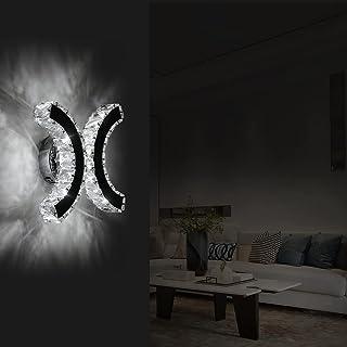 Lampe Murale en Cristal, Applique Murale LED Intérieure, 12W Lumière Blanche Froide 6000K Double C Design, Moderne Décorat...