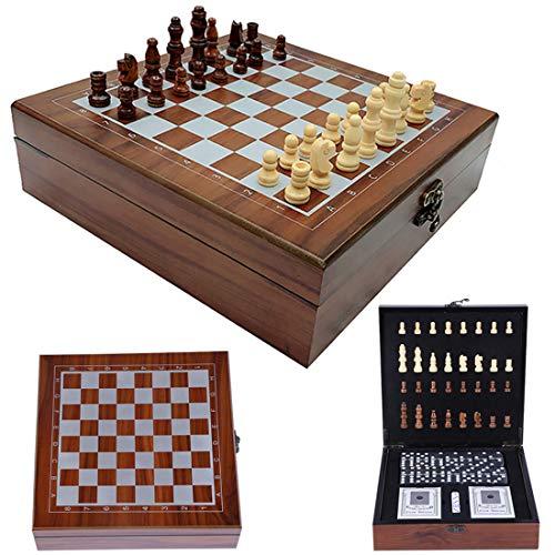 MoneRffi 4-in-1 Reiseschach-Set, fodlable Schachprüfer, Dame, Spielkarten, Würfel, Domino-Brettspiele mit faltbarem, tragbarem Aufbewahrungsbrett (braune Box, 24 x 24 x 7 cm)