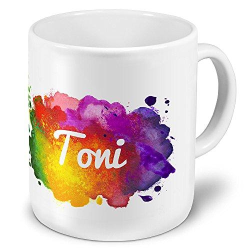 XXL Riesen-Tasse mit Namen Toni - Motiv Color-Paint - Namenstasse, Kaffeebecher, Becher, Mug