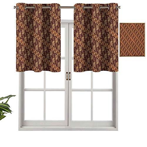 Hiiiman Cenefas opacas para cortinas antirayos UV, diseño diagonal, diseño de cultura y arte indonesia, juego de 2, 137 x 91 cm, para interiores y comedores.