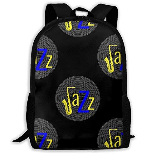 ADGBag Vinyl Record Word Jazz Black Yellow Blue Fashion Outdoor Shoulders Bag Durable Travel Camping for Kids Backpacks Shoulder Bag Book Scholl Travel Backpack Kinderrucksack Rucksack